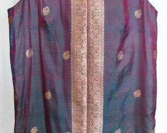 Irridescent Purple Silk Gold Fringe Indian Tunic Top Size S
