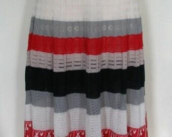 Boho Chic Openwork Cotton Summer Knit Striped Skirt Size M