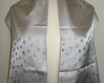 Glentex Made in France Silver Embroidered Rosebud Scarf