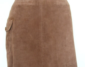 Cute J. Crew 90s Cocoa Suede Miniskirt Side Pocket Size 2