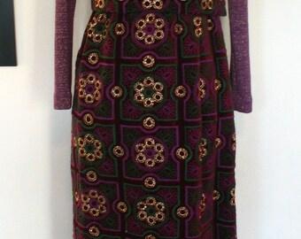 Saks Fifth Avenue Purple Knit Top Velvet Skirt Maxi Dress Size S