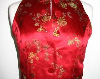 Barami Couture Red Gold Green Brocade Spider Mum Bamboo Floral Vest Size 4