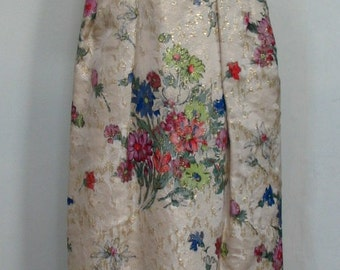 Spectacular Metallic Floral Brocade Spaghetti Strap Maxi Dress Size 4