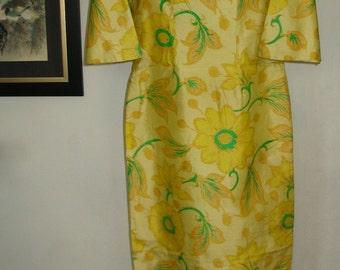 Lemon Yellow Floral Raw Silk Flare Sleeve Cheongsam Maxi Dress Size S