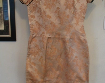 Cream Polyester Brocade Gold Floral Cheongsam Dress Size S