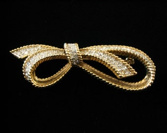 Gold Plated Clear Crystal Bow Brooch