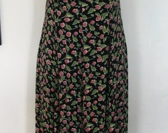 Henri Bendel Floral 80s Rayon Garden Party Dress Size 10