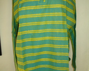 Stylish Chakra Indian Cotton Blue Yellow Stripe Tunic Top Size 48 or L