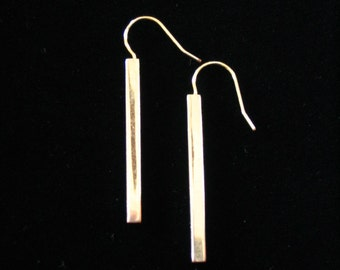 Gold Plated Rectangular Square Wire Pierced Earrings