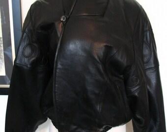 Marc Buchanan Pelle Pelle Black Calfskin Bomber Jacket Size M to L