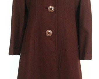 Lan Siang Made in China Cocoa Brown Wool Coat Size M