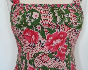 Andrea Serrahn Pink and Green Floral  Mirrored Cotton Square Neck Dress Size 6