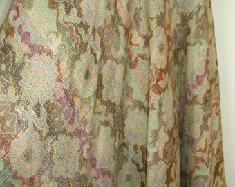 Cream Multicolor Floral Weave Monet Water Lilly Maxi Skirt Size 4