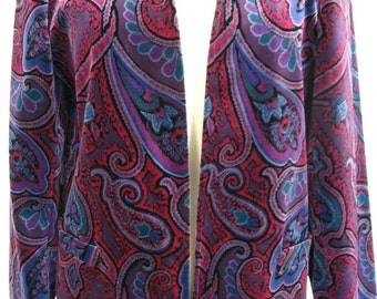 Tan Jay Purple Paisley Plush Velvet Jacket Size 10
