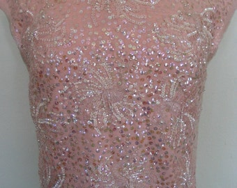 Pink Sequin Beaded Peacock Wool Shell with Fringe Trim Size M