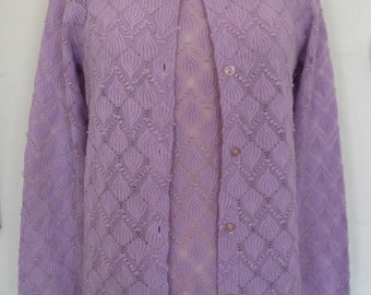 Openwork Woven Mandarin Collar Lavender Twin Set Size M