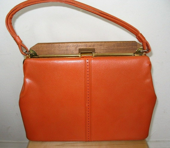 RESERVED for Floribo Fabulous Orange Vinyl Frame Bag with Wooden Bar Top and Retro Lining