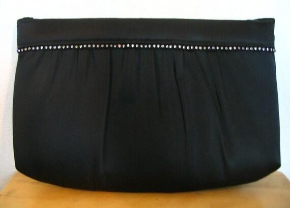Black Fabric Rhinestone Trim Clutch Bag with Cord Strap