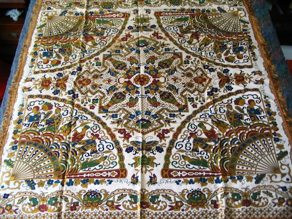 Beautiful Multicolor Asian Motif Woven Tapestry Tablecloth 53 by 56