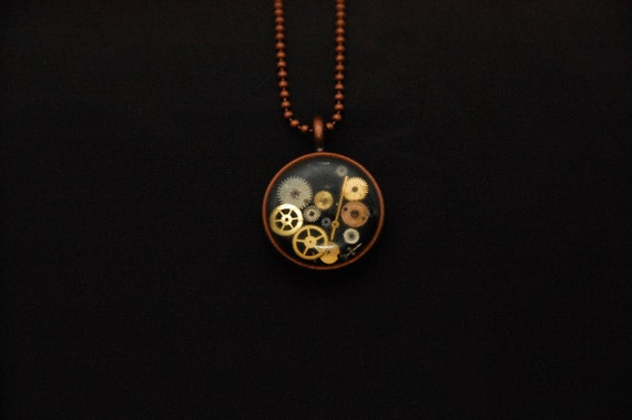 Stuck in Time - Custom Steampunk watch parts necklace - Copper Circle