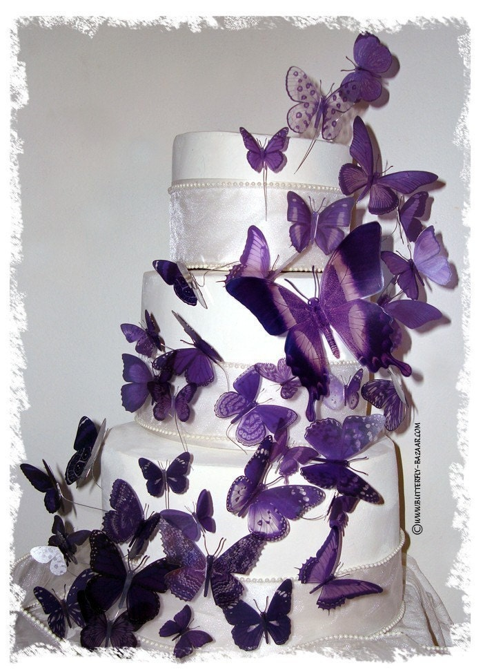 Cake Decoration Butterfly : PURPLE BUTTERFLIES 46 Multi Sized 3D Wedding by BUTTERFLYBAZAAR