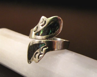 Vintage  Silver Alpaca Ring with Inlaid  Abalone Shell
