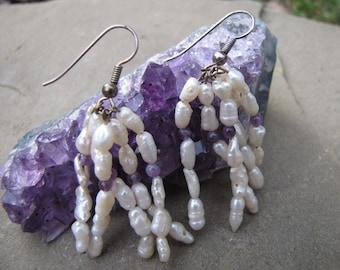 Vintage Freshwater Pearls With Amethyst Dangle Drop  Sterling Earrings