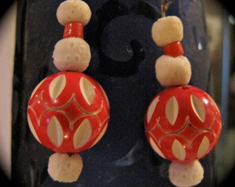 Vintage Red Carved Enamel Beaded Earrings With  Coral Dangles