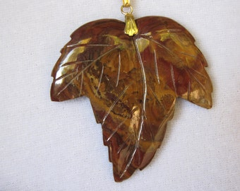 Beautiful Jasper Autumn Leaf Gold Necklace- Golds And Reds- Jasper Leaf Pendant