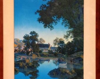 Vintage  Rare Maxfield Parrish Art -Peace Of Evening  1953 -  Art Nouveau  Maxfield Parrish  Framed Lithograph Print
