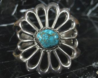 Vintage Navajo Bisbee Spiderweb  Silver Cuff Bracelet Old Pawn Hallmarked  Sandcast Navajo Turquoise Cuff