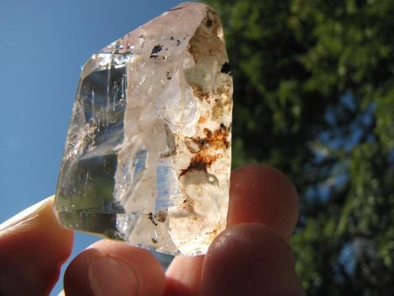 Quartz Crystal Specimen With  Black Tourmaline /  Talisman  Powerful Protection/Tourmalinated Quartz- Crystal Sale