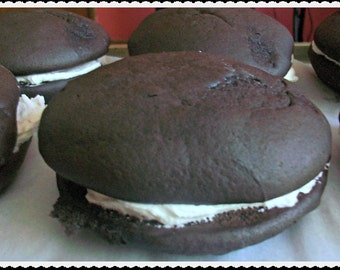 Vegan Chocolate Gift  Whoopee Pies With Vanilla Creme Middles Perfect Birthday or Father's Day Dessert