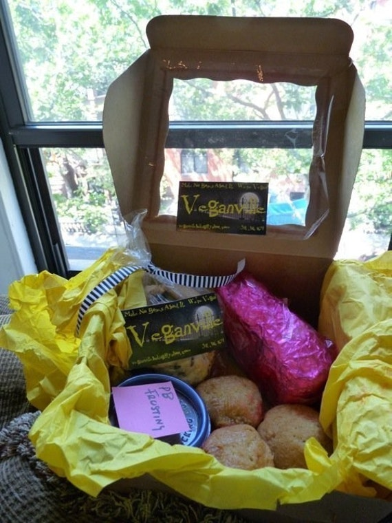 Vegan Cookie Chocolate  Cupcake and Cake Gift Box Sampler Perfect for Birthday and Holiday Gift