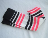 Pink and Black Stripes Baby Leg Warmers