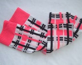 Pink and Black Plaid Baby Leg Warmers