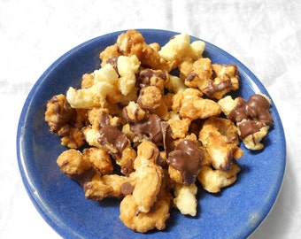 Chocolate Toffee Munch-Drizzled PopCorn Snack-No Hulls or Kernels-Gluten Free Snack- Delicious