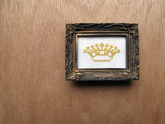 little framed cross stitch crown.