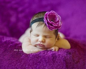 Baby Headband - Newborn Headband - Baby Girl - Infant Headband - Toddler - Purple Flower on Black Stretch Headband - Photography Prop