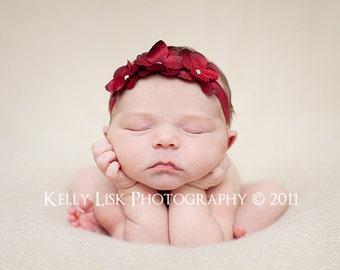 Red Baby Headband - Newborn Headband Headband - Toddler Headband - Red Triple Dainty Flowers on Stretch Headband - Photography Prop
