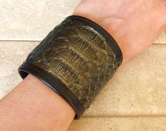 Genuine Python Leather Cuff - Metallic Jade