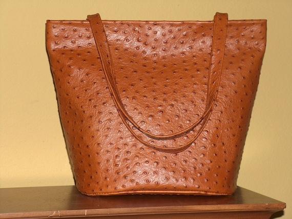 Tangerine Ostrich Leather Handbag