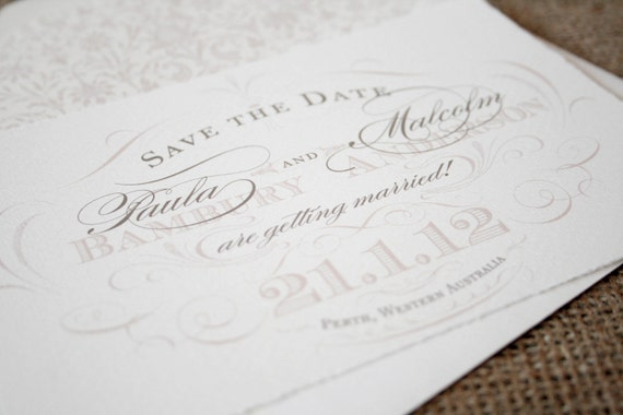 Elegant Save the Date Wedding Invitation, Vintage Scroll Save-The-Date, Blush Pink  - sample
