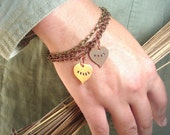 Fall Autumn Family Tree Personalized Handstamped Bracelet in Copper or Bronze