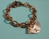 Perfect Mothers Day Gift Initial or Monogram Hand Stamped Bird Copper Bracelet
