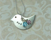 Mothers Day Hand Stamped Bird 2 Sided Personalized Pendant