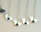 Wedding Bridesmaid Gift Bird Pendant Necklace Personalized Initial