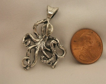 Sterling Silver 925 Octopus Pendant