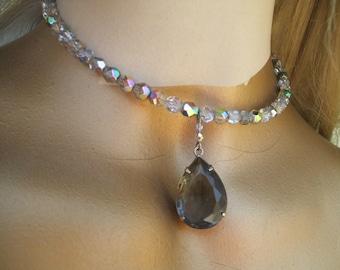 Vintage Style Silver Aurora Borealis Crystal Bead Choker