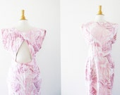 Vintage 1980's Pink Jungle Cotton Maxi Dress